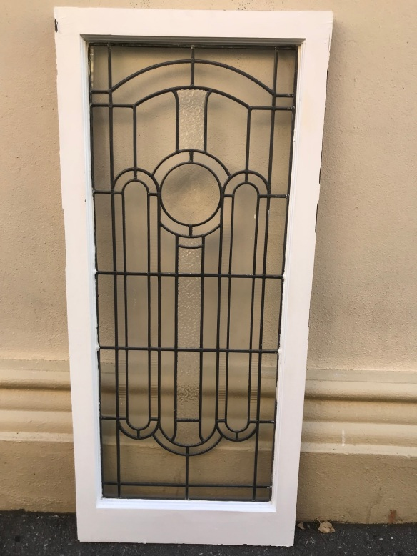 salvaged, recycled, demolition, reproduction, restoration, renovation, collectable, second hand, used, original, old, reclaimed, heritage, Victorian, Edwardian, Art Deco, Georgian Art Deco leadlight panels, with cut glass, frame size is 1260 mm x 560 mm, glass size is 1105 mm x 455 mm , $ 300 each , 2 available