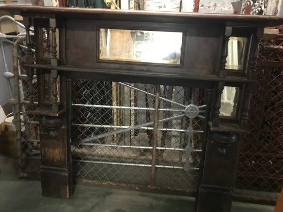 salvaged, recycled, demolition, reproduction, restoration, renovation, collectable, second hand, used, original, old, reclaimed, heritage, Victorian, Edwardian, Art Deco, Georgian Edwardian timber mantle piece with turnings and mirrors, top shelf 1555 mm , 1370 mm tall , 385