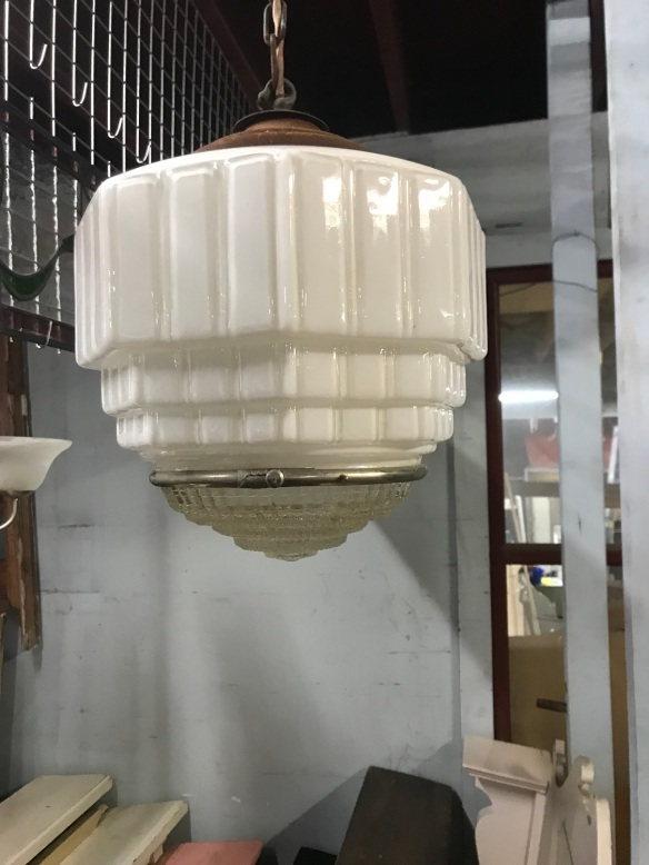 salvaged, recycled, demolition, reproduction, restoration, renovation, collectable, second hand, used, original, old, reclaimed, heritage, Victorian, Edwardian, Art Deco, Georgian Nice hallway light , with gallery and chain, $ 145