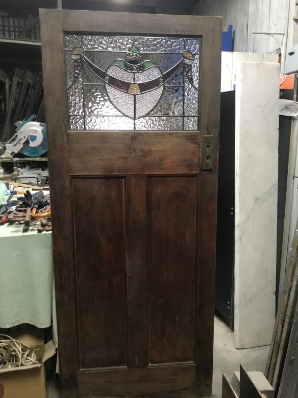 salvaged, recycled, demolition, reproduction, restoration, renovation, collectable, second hand, used, original, old, reclaimed, heritage, Victorian, Edwardian, Art Deco, Georgian Original interior bungalow door with leadlight, 863 mm x 2065 mm, leadlight repaired, perfect condition. $ 345