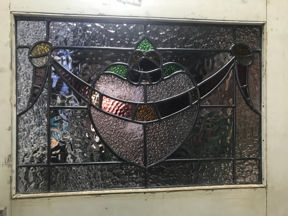 salvaged, recycled, demolition, reproduction, restoration, renovation, collectable, second hand, used, original, old, reclaimed, heritage, Victorian, Edwardian, Art Deco, Georgian detail of leadlight door c