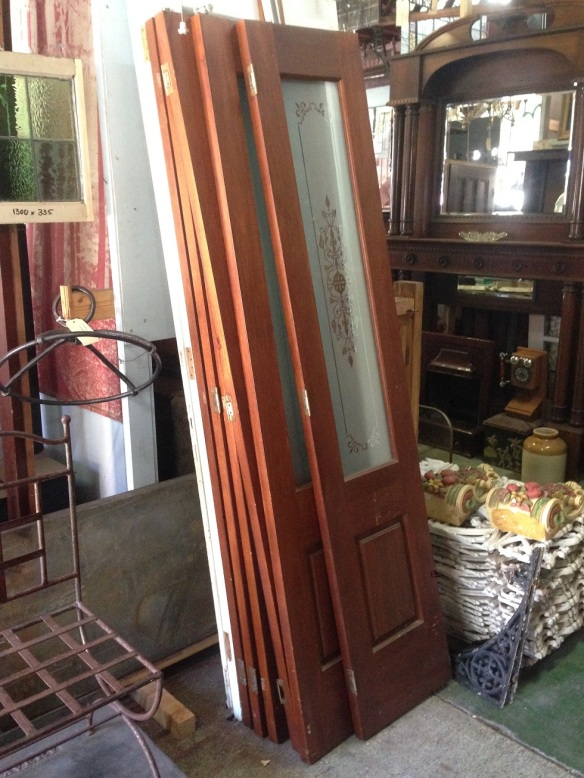 salvaged, recycled,set of 6 bi-fold doors including track, each door is 430 mm wide x 2112 mm tall, total opening appx 2580 mm , $ 880 for the set and track demolition, reproduction, restoration, renovation, collectable, second hand, used, original, old, reclaimed, heritage, Victorian, Edwardia, D eco, Georgian set of 6 bi-fold doors including track, each door is 430 mm wide x 2112 mm tall, total opening appx 2580 mm , $ 880 for the set and track