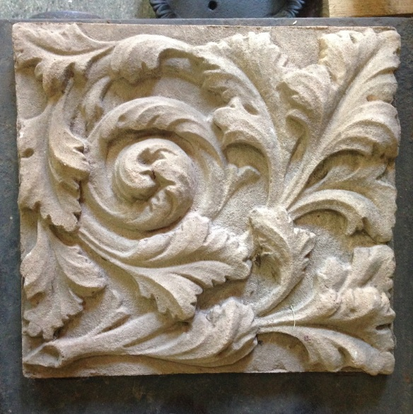 salvaged, recycled, demolition, reproduction, restoration, renovation, collectable, second hand, used, original, old, reclaimed, heritage, Victorian, Edwardia, Deco, Georgian large stone look decorative carved /cast panel, 490 mm x 460 mm , 3 available 50 each