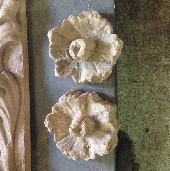 salvaged, recycled, demolition, reproduction, restoration, renovation, collectable, second hand, used, original, old, reclaimed, heritage, Victorian, Edwardia, Deco, Georgian stone look carving/casting 150 mm diameter, floral design , 2 available , $10 each