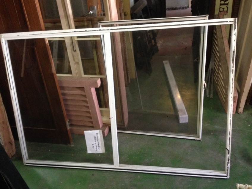salvaged, recycled, demolition, reproduction, restoration, renovation, collectable, second hand, used, original, old, reclaimed, heritage, Victorian, Edwardia, Deco, Georgian aluminium sliding window, with screen , 1810 mm x 1200 mm. $50