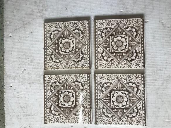 salvaged, recycled, demolition, reproduction, restoration, renovation, collectable, second hand, used, original, old, reclaimed, heritage, Victorian, Edwardian, Art Deco, Georgian set of 6 original picture tiles for fireplace, $ 165 the set , Set67