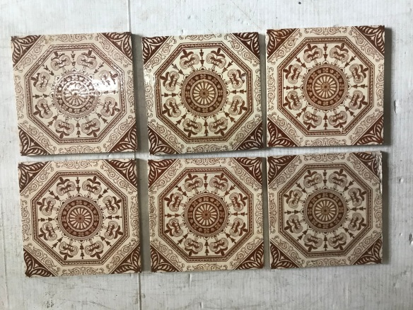 salvaged, recycled, demolition, reproduction, restoration, renovation, collectable, second hand, used, original, old, reclaimed, heritage, Victorian, Edwardian, Art Deco, Georgian 6 original picture tiles for fire place, $ 185 the set, Set 69