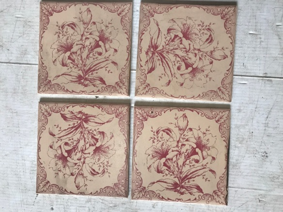 salvaged, recycled, demolition, reproduction, restoration, renovation, collectable, second hand, used, original, old, reclaimed, heritage, Victorian, Edwardian, Art Deco, Georgian set of 6 picture tiles , 120 the set , Set 70