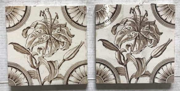 original set of 2 picture tiles $ 55 Set 71 salvaged recycled demolition, reproduction, restoration, renovation,collectable, secondhand, used , original, old, reclaimed, heritage, antique, victorian, edwardian, georgian art nouveau ceramic arts and crafts decorative aesthetic