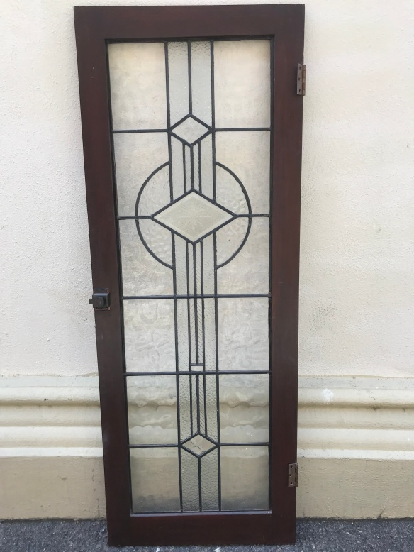 Art Deco salvaged,Leadlight Art deco cupboard door, frame is 500 mm x 1325 mm , glass size is 380 mm x 1180 mm, $ 285 recycled, demolition, reproduction, restoration, renovation, collectable, second hand, used, original, old, reclaimed, heritage, Victorian, Edwardian, Art Deco, Georgian Leadlight Deco cupboard door, frame is 500 mm x 1325 mm , glass size is 380 mm x 1180 mm, $ 285