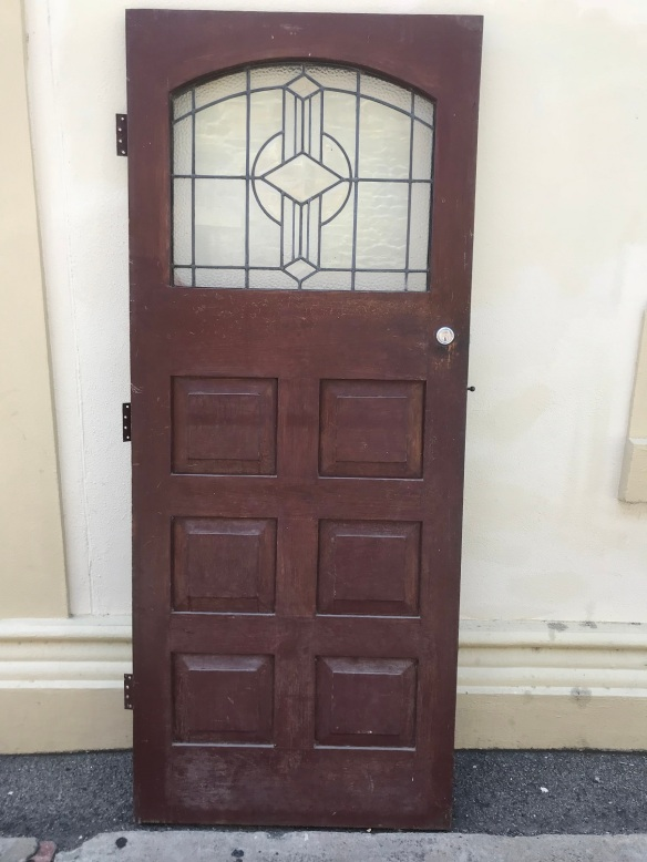 Front door with clear Art Deco leadlight, 855 mm wide x 2085 mm tall, $485 salvaged, recycled, demolition, reproduction, restoration, renovation, collectable, second hand, used, original, old, reclaimed, heritage, Victorian, Edwardian, Art Deco, Georgian Front door with leadlight, 855 mm wide x 2085 mm tall, $485 salvage recycled demolition, reproduction restoration, renovation, collectable, secondhand, used, original, old, reclaimed heritage, antique restored stained glass