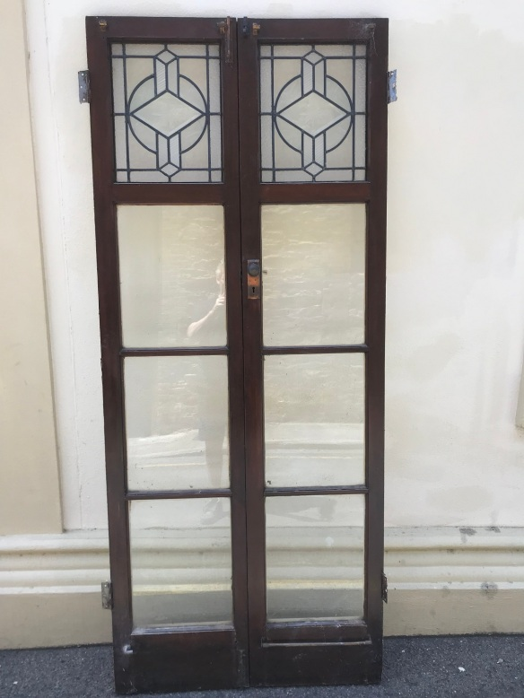 salvaged, recycled, demolition, reproduction, restoration, renovation, collectable, second hand, used, original, old, reclaimed, heritage, Victorian, Edwardian, Art Deco, Georgian Pair of french doors with deco lead light panel, 885 mm wide x 2085 mm tall , $ 650 the pair