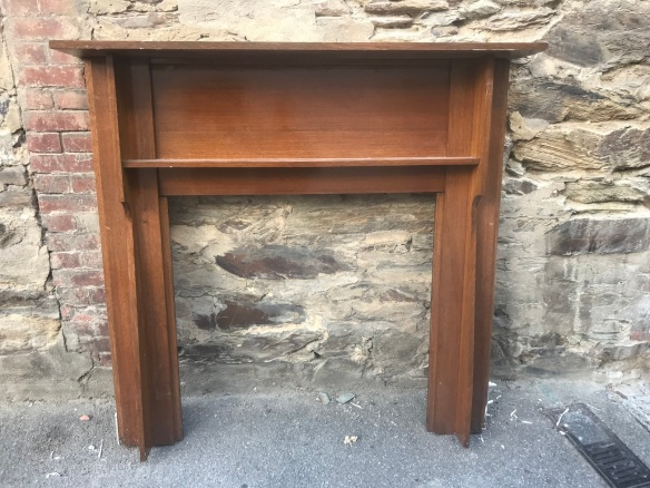 salvaged, recycled, demolition, reproduction, restoration, renovation, collectable, second hand, used, original, old, reclaimed, heritage, Victorian, Edwardian, Art Deco, Georgian Oak Bungalow polished fire surround, 1420 mm top x 1370 mm tall , $ 330