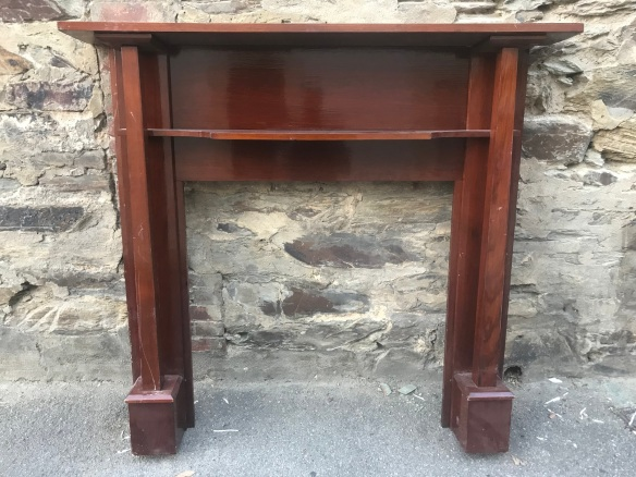 salvaged, recycled, demolition, reproduction, restoration, renovation, collectable, second hand, used, original, old, reclaimed, heritage, Victorian, Edwardian, Art Deco, Georgian Polished oak Bungalow mantlepiece, top is 1475 mm , height is 1380 mm, $ 330