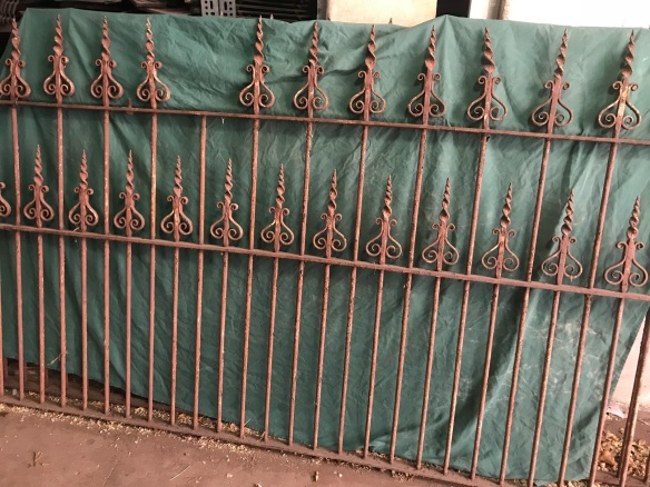 Finely wrought blacksmithed spears, fence panel, 4 metres long x 1220 mm tall, $885 (missing spear can be moved from end of panel) salvaged, recycled, demolition, reproduction, restoration, renovation, collectable, second hand, used, original, old, reclaimed, heritage, 2 Wrought iron , very decorative blacksmith made fence panels, each one is 4 metres ling x 1220 mm tall, $ 885 each