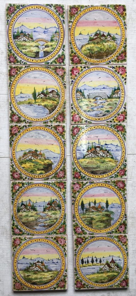 Set of Italian handpainted picture tiles, various scenes of rural medieval buildings, bridge and streams scenes across the set, $275 the set , SET 72 salvaged recycled demolition, reproduction, restoration, renovation,collectable, secondhand, used , original, old, reclaimed, heritage, antique, victorian, edwardian, georgian art nouveau ceramic arts and crafts decorative aesthetic