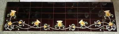 Reproduction tile hearth set (detail), deep brown with yellow tulip border pattern w1370 x d456mm $480