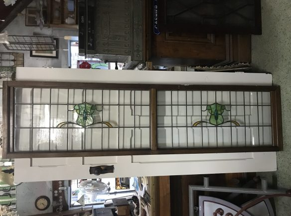 salvaged, recycled, demolition, reproduction, restoration, renovation, collectable, second hand, used, original, old, reclaimed, heritage, 2 lead light panel in frame, each piece of glass is 980 mm wide x 455 mm high, total frame is 2065 mm wide x 525 mm high , $ 585,