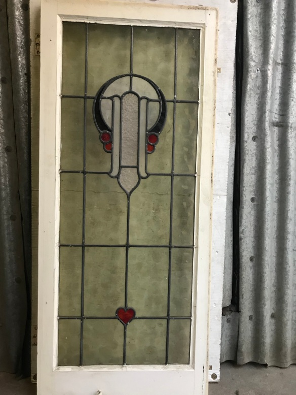salvaged, recycled, demolition, reproduction, restoration, renovation, collectable, second hand, used, original, old, reclaimed, heritage, leadlight window in frame, frame is 1145 mm tall x 500 mm wide , glass size is 990mm tall x 400 mm wide ,$ 330