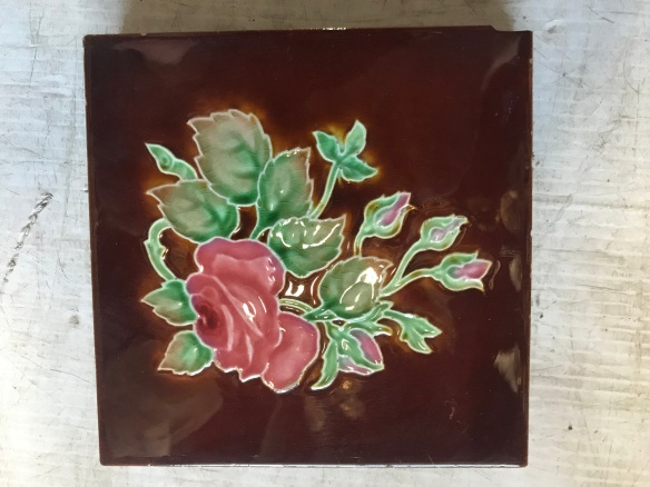 salvaged recycled demolition, reproduction, restoration, renovation,collectable, secondhand, used , original, old, reclaimed, heritage, antique, victorian, edwardian, georgian art nouveau ceramic arts and crafts decorative aesthetic Pair of original Victorian floral tiles, $ 27.50 each, 2 available. WS