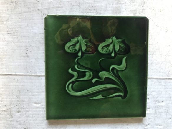 salvaged recycled demolition, reproduction, restoration, renovation,collectable, secondhand, used , original, old, reclaimed, heritage, antique, victorian, edwardian, georgian art nouveau ceramic arts and crafts decorative aesthetic Nouveau picture tiles, $ 27.50, 3 available, WS