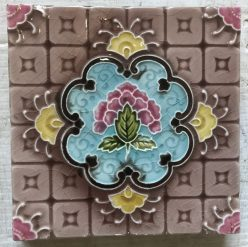 Pair of original fireplace tiles c1920-1930, 6 inch x 6 inch, $28 each, 2 available WS salvaged, recycled, demolition, reproduction, restoration, renovation, collectable, second hand, used, original, old, reclaimed, heritage, Pair of original fireplace tiles, 6 inch x 6 inch, $ 27.50 each, 2 available WS