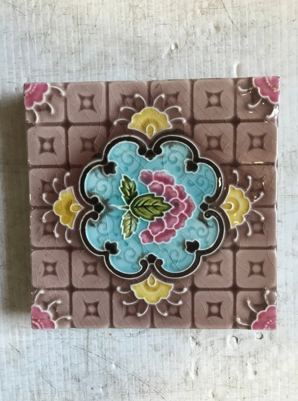 salvaged, recycled, demolition, reproduction, restoration, renovation, collectable, second hand, used, original, old, reclaimed, heritage, Pair of original fireplace tiles, 6 inch x 6 inch, $ 27.50 each, 2 available WS