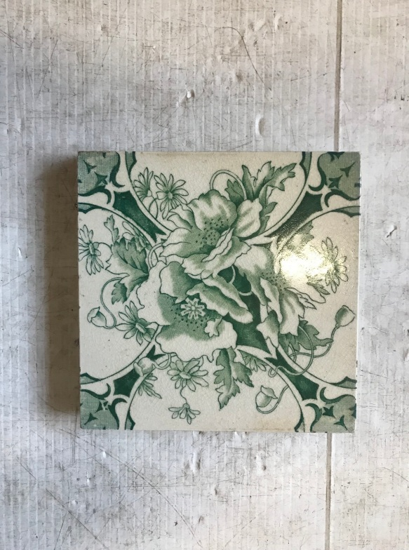 salvaged, recycled, demolition, reproduction, restoration, renovation, collectable, second hand, used, original, old, reclaimed, heritage, original Victorian tiles to suit fireplace, $ 27.50 each, 2 available WS