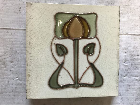 salvaged, recycled, demolition, reproduction, restoration, renovation, collectable, second hand, used, original, old, reclaimed, heritage, original Art Nouveau tiles, 6 inch x 6 inch, $27.50 each , 2 available WS