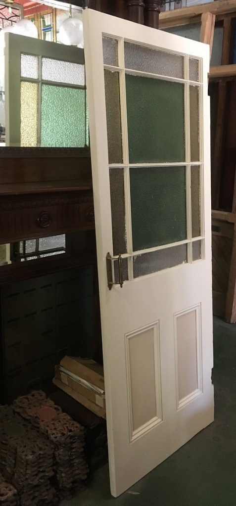 Astragal / End of passage door. Clear, yellow and green ripple glass. Swing hinges originally used so repair of frame required. 875 x 2013mm $375salvaged, recycled, demolition, reproduction, restoration, renovation, collectable, second hand, used, original, old, reclaimed, heritage,