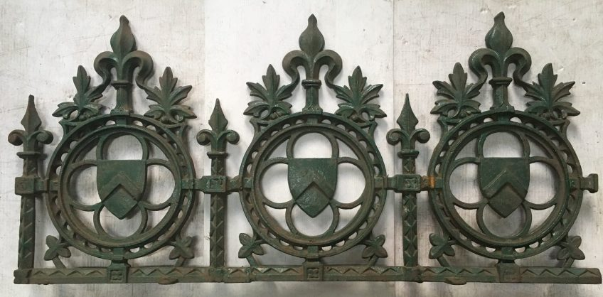Original rare cast iron ridge capping, shield & fleur de lis motifs. 400mm, approx 9 metres. most in 900mm lengths. $125