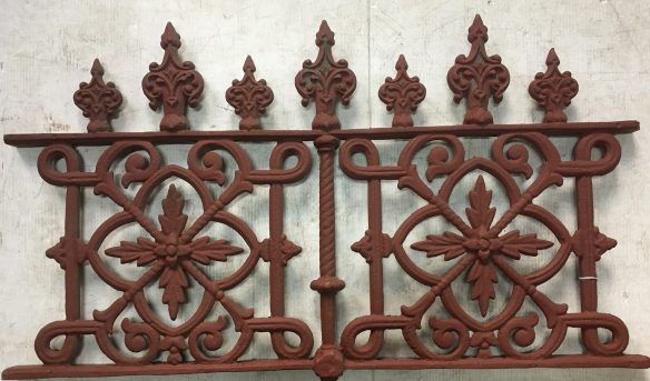 Original cast iron Victorian fence panels, double sided casting, h525 x w920mm, 4 available $220 each