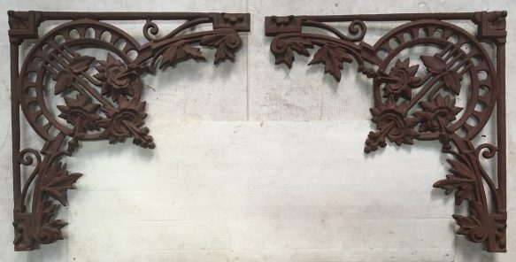 Pair of Victorian decorative cast iron lacework corners. Primed for painting, 470 x 470mm. $150 pair