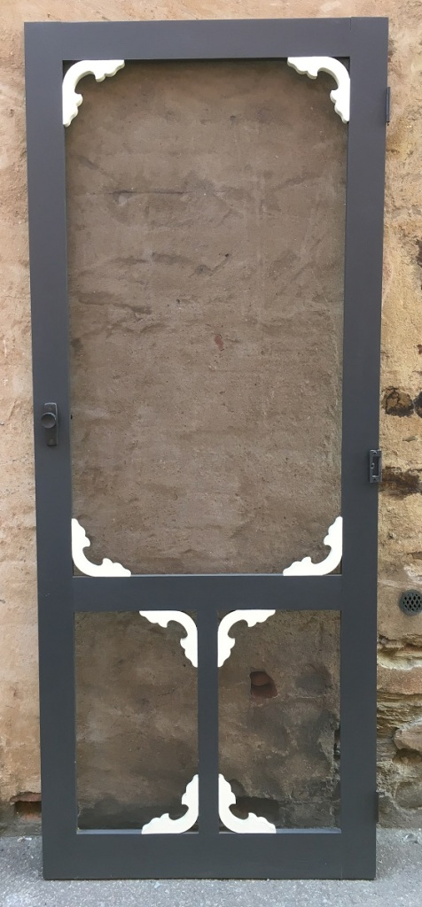 Timber screen door with fretwork details, 820 x 2037mm $150Timber screen door with fretwork details, 820 x 2037mm salvaged, recycled, demolition, reproduction, restoration, renovation, collectable, second hand, used, original, old, reclaimed, heritage,