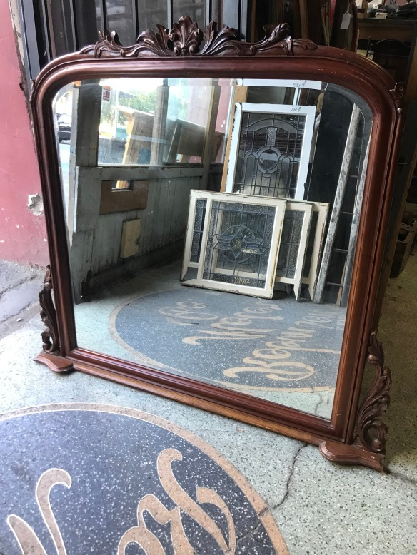 salvaged, recycled, demolition, reproduction, restoration, renovation, collectable, second hand, used, original, old, reclaimed, heritage, Reproduction over mantle mirror, 1400 mm wide x 1260 mm tall, $ 485