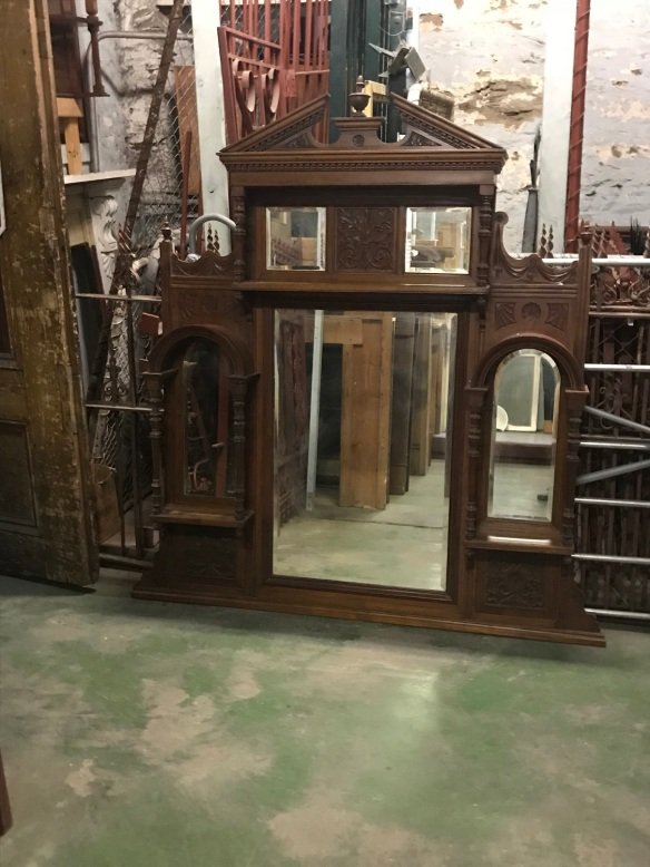 salvaged, recycled, demolition, reproduction, restoration, renovation, collectable, second hand, used, original, old, reclaimed, heritage, original Victorian Walnut overmantle, 1545 mm wide x 1660 mm tall, good condition. $ 845