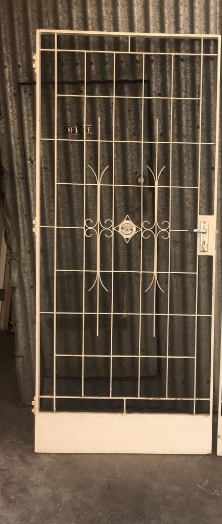 wrought iron security door 925 mm wide x 2120 tall $445 wrought iron security door and side grill, door is 925 mm wide x 2120 tall , with frame, side light grill is 405salvaged, recycled, demolition, reproduction, restoration, renovation, collectable, second hand, used, original, old, reclaimed, heritage, mm wide x 2120 tall, $ 445