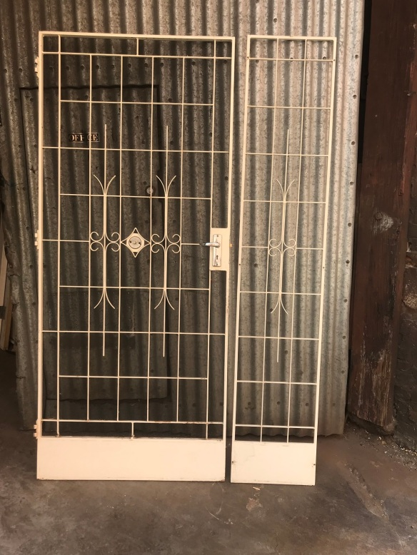 wrought iron security door and side grill, door is 925 mm wide x 2120 tall , with frame, side light grill is 405salvaged, recycled, demolition, reproduction, restoration, renovation, collectable, second hand, used, original, old, reclaimed, heritage, mm wide x 2120 tall, $ 445