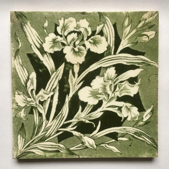 detail of Original Victorian fireplace tiles 6x6inch, green and white decal of irises. $220 for two full fireplace panels renovation,collectable, secondhand, used , original, old, reclaimed, heritage, antique, victorian, edwardian, georgian art nouveau ceramic arts and crafts decorative aesthetic