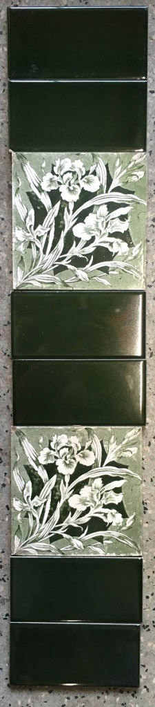Original Victorian fireplace tiles 6x6inch, green and white decal of irises. $220 for two full fireplace panels nels salvaged recycled demolition, reproduction, restoration, renovation,collectable, secondhand, used , original, old, reclaimed, heritage, antique, victorian, edwardian, georgian art nouveau ceramic arts and crafts decorative aesthetic
