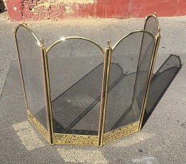 Arched brass and steel mesh wood fire screen, adjustable side panels in right angle position w 615 x d 350 x h 815mm $125