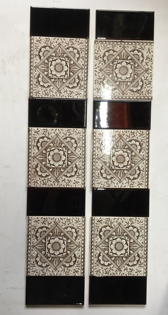 Victorian fireplace tiles, 6x6 inch, possibly Pilkington, deep brown on white ground $250 for the set