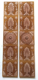 set 75 Victorian fireplace tile set, Maw & Co Broseley Salop, (c1862-1882) dusky pink and tan, $450 for the 10 tile set.salvaged, recycled, demolition, reproduction, restoration, renovation, collectable, second hand, used, original, old, reclaimed, heritage,