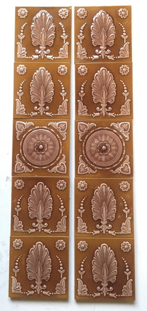 Victorian fireplace tile set, Maw & Co Broseley Salop, (c1862-1882) dusky pink and tan, $450 for the 10 tile set.salvaged, recycled, demolition, reproduction, restoration, renovation, collectable, second hand, used, original, old, reclaimed, heritage,
