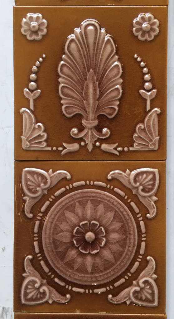 Maw & Co set 75 Victorian fireplace tile set, Maw & Co Broseley Salop, (c1862-1882) dusky pink and tan, $450 for the 10 tile set. salvaged, recycled, demolition, reproduction, restoration, renovation, collectable, second hand, used, original, old, reclaimed, heritage,