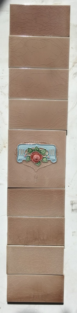 H&R Johnson Ltd original fireplace tiles, dusky pink with deep pink rose and blue scroll $110 for the two panel fireplace set salvaged, recycled, demolition, reproduction, restoration, renovation, collectable, second hand, used, original, old, reclaimed, heritage,