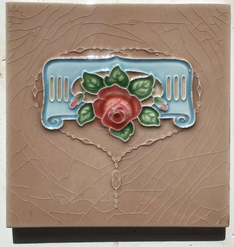 H&R Johnson Ltd original fireplace tiles, dusky pink with deep pink rose and blue scroll $110 for the two panel fireplace set salvaged, recycled, demolition, reproduction, restoration, renovation, collectable, second hand, used, original, old, reclaimed, heritage, H&R Johnson Ltd original fireplace tiles, dusky pink with deep pink rose and blue scroll $110 for the two panel fireplace set salvaged recycled demolition, reproduction, restoration, renovation,collectable, secondhand, used , original, old, reclaimed, heritage, antique, victorian, edwardian, georgian art nouveau ceramic arts and crafts decorative aesthetic