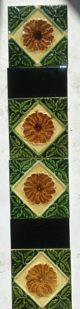 Original English fireplace tile set, Aesthetic Floral Majolica c1900-1910, $260 for the set of two matching panels OTB salvaged recycled demolition, reproduction, restoration, renovation,collectable, secondhand, used , original, old, reclaimed, heritage, antique, victorian, edwardian, georgian art nouveau ceramic arts and crafts decorative aesthetic