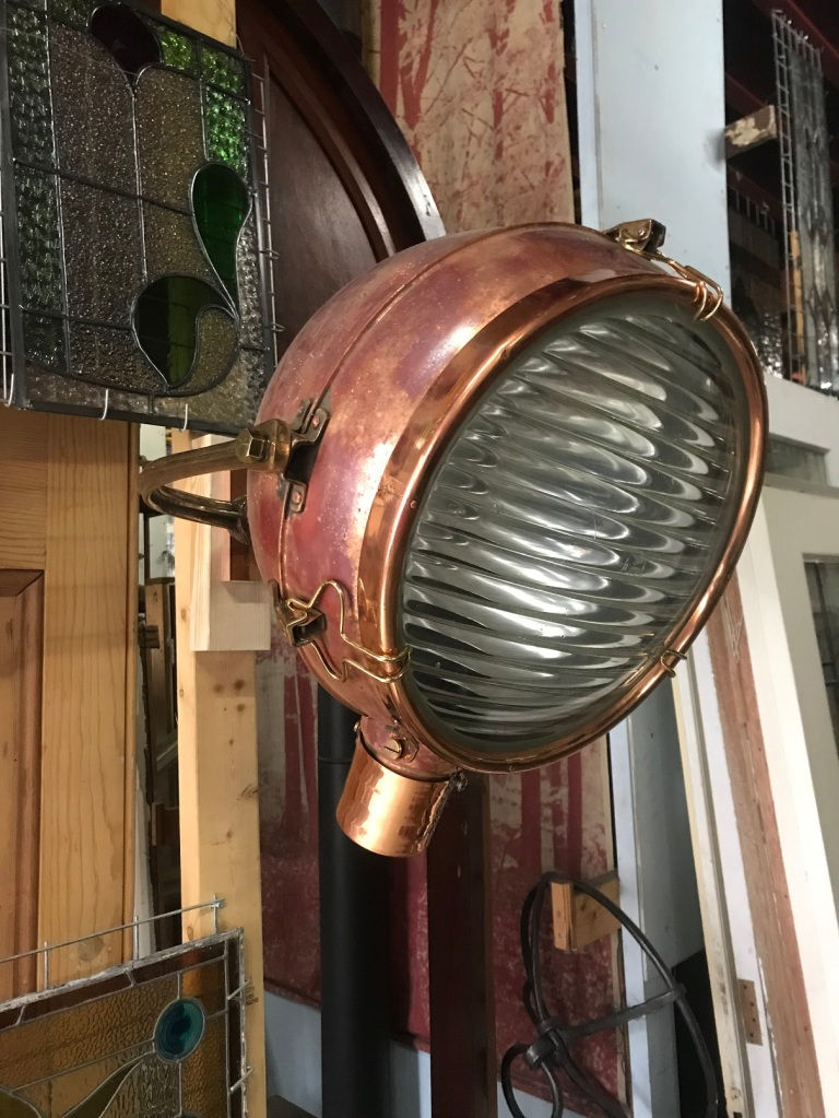 salvaged, recycled, demolition, reproduction, restoration, renovation, collectable, second hand, used, original, old, reclaimed, heritage,Large copper spotlights, with bracket, 500 mm diameter, will need modern electrics to be fitted, $ 550 each , 3 available