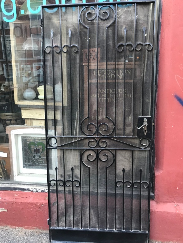 salvaged, recycled, demolition, reproduction, restoration, renovation, collectable, second hand, used, original, old, reclaimed, heritage, Ornate iron security door with steel frame, 910 mm wide x 2100 mm tall, $ 545